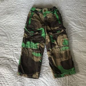mini Boden Size 5Y Green Lined Camo Techno Pants
